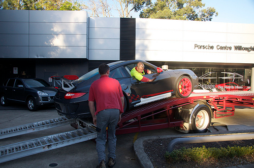 Driving Car onto Shipping Trailer