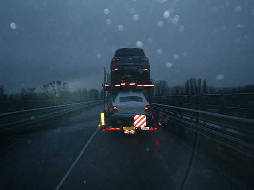 Auto Transport Truck in Rain