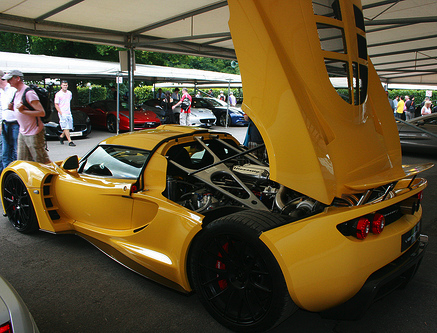 Over 1,200 horsepower allows the Hennessey Venom GT to drive ahead like a rocket.