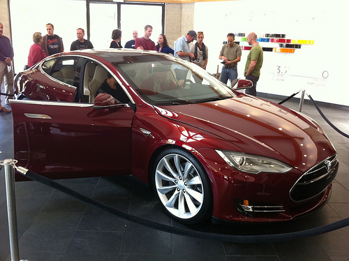 A drivable prototype of the Tesla Model S, which has begun shipping out to customers in 2012.
